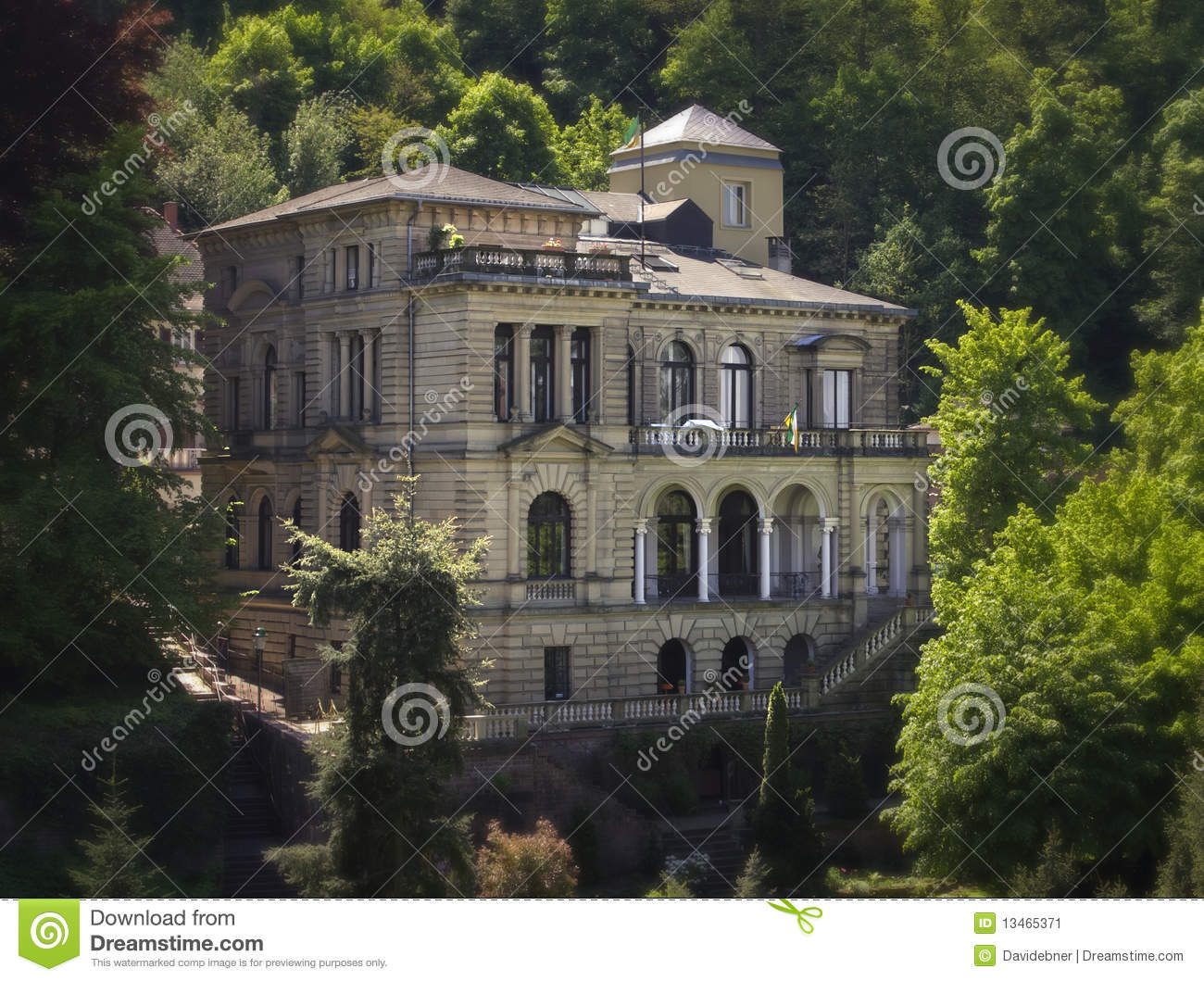 Hillside Baroque Mansion In Germany Stock Image Image