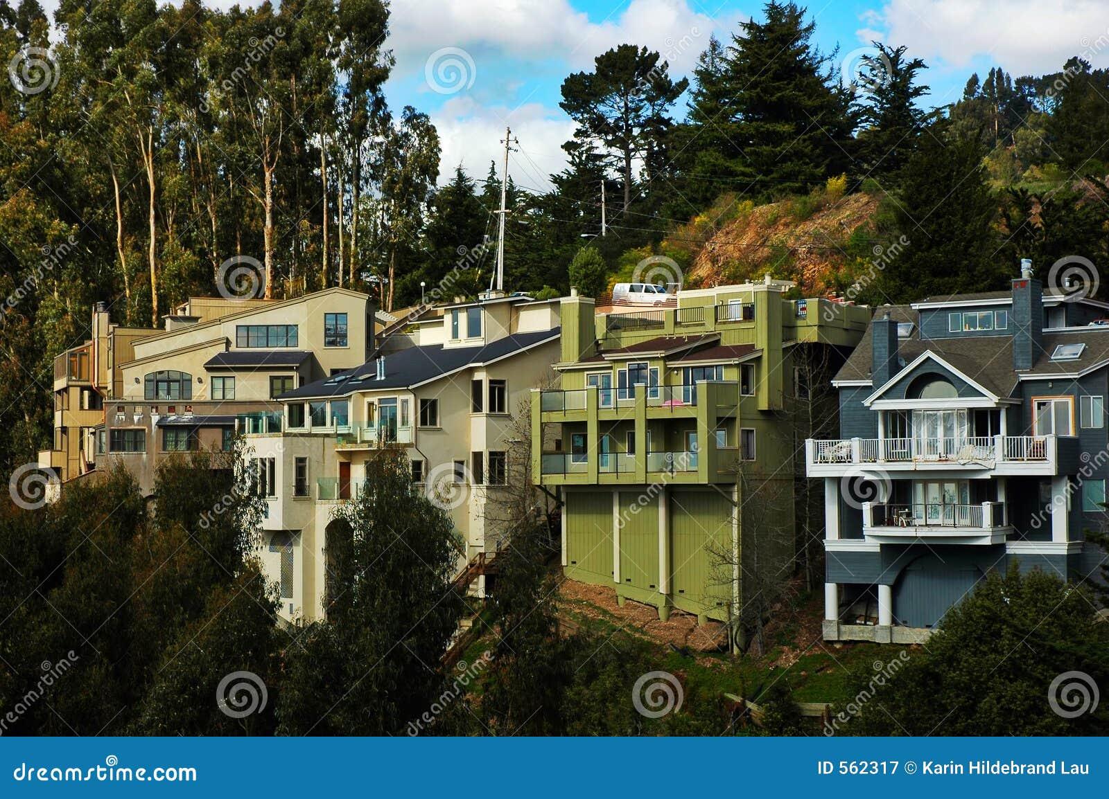 Hillside homes in california stock image image of for Hillside homes