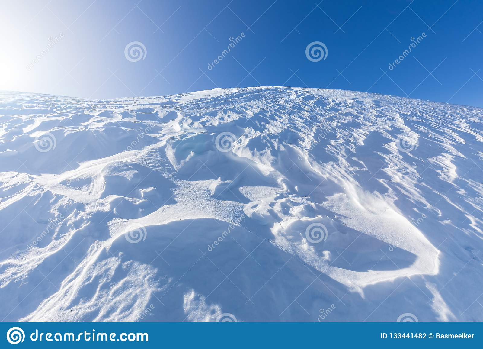 Hilltop covered in snow
