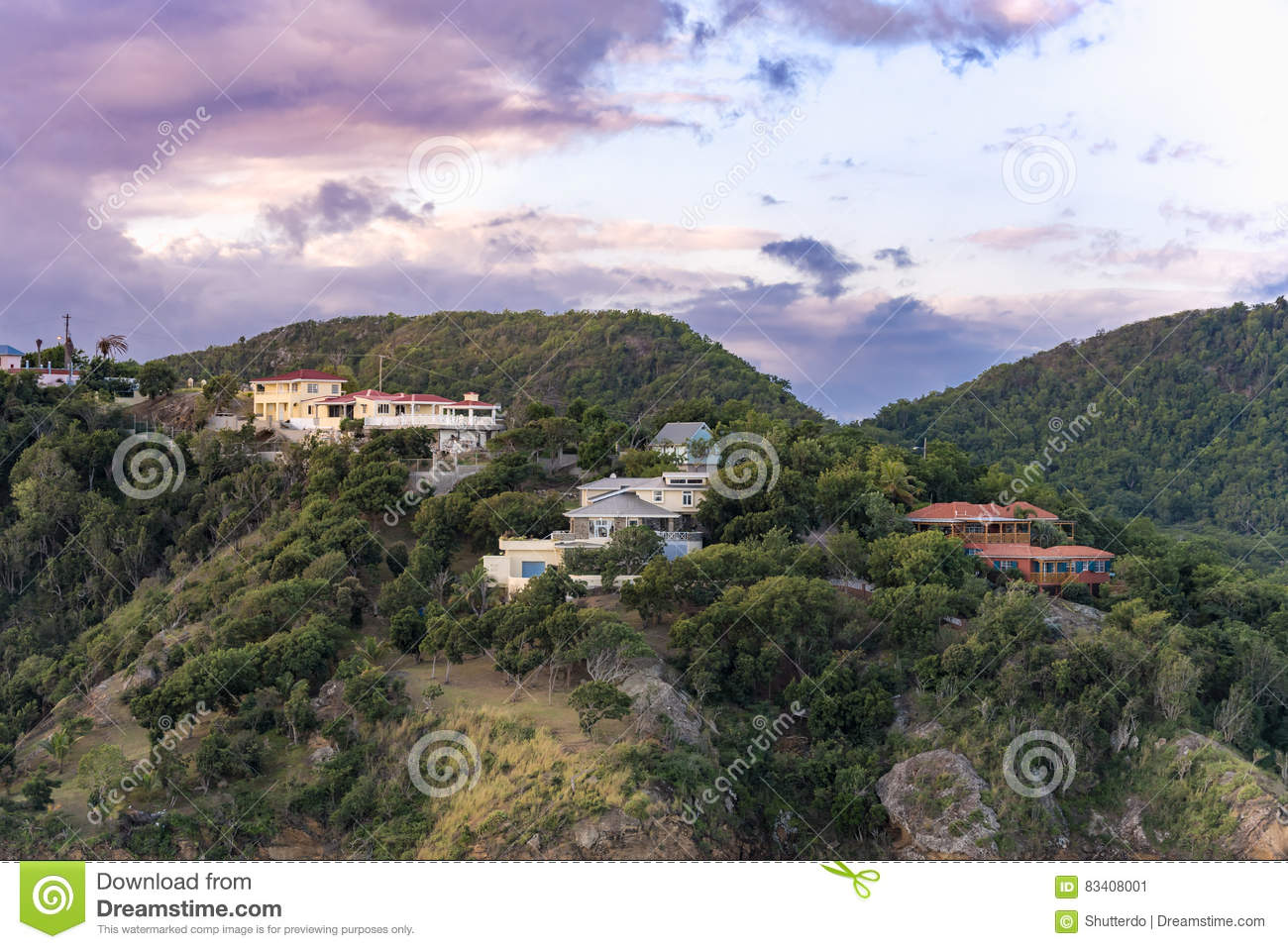 Hilltop houses on the island of Antigua