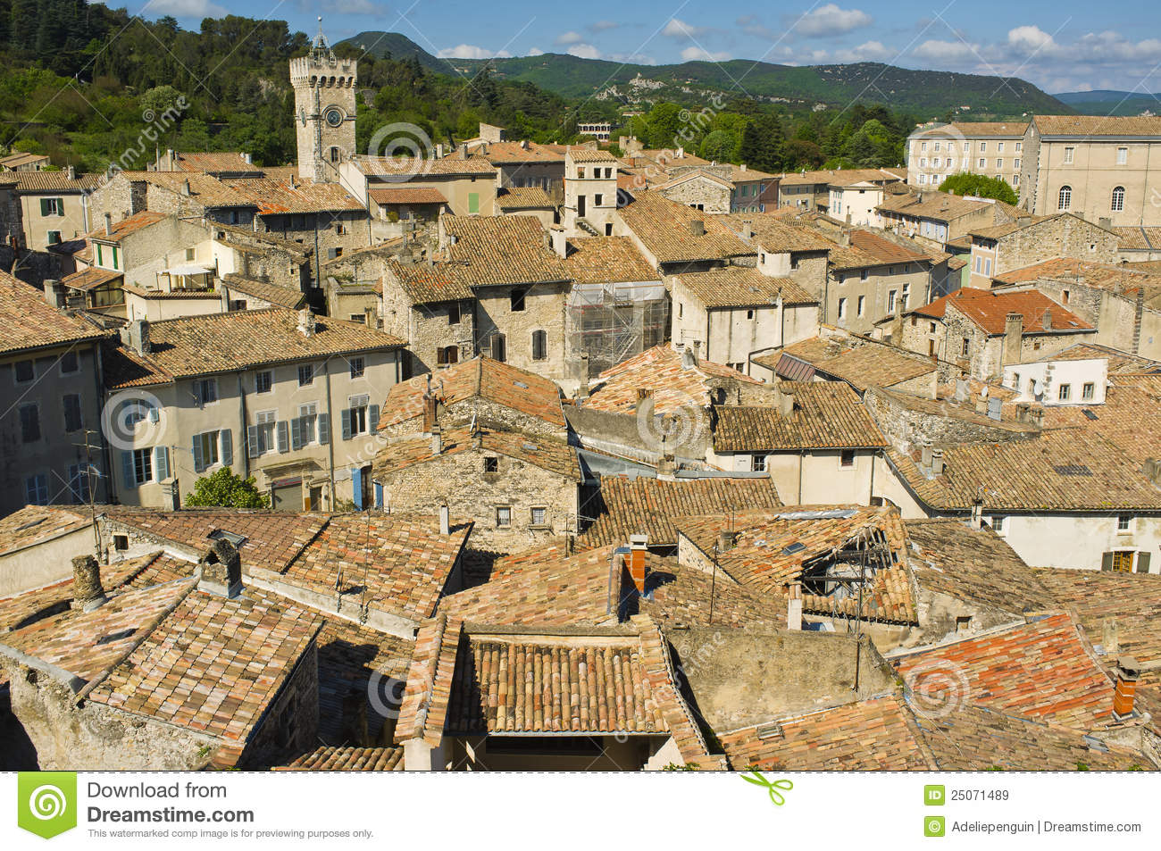 Hilltop View Viviers France Royalty Free Stock Images