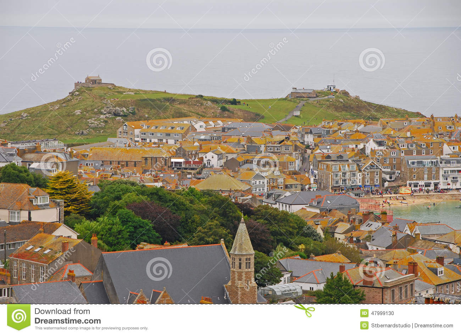 Hilly St Ives Seaside Town van Cornwall