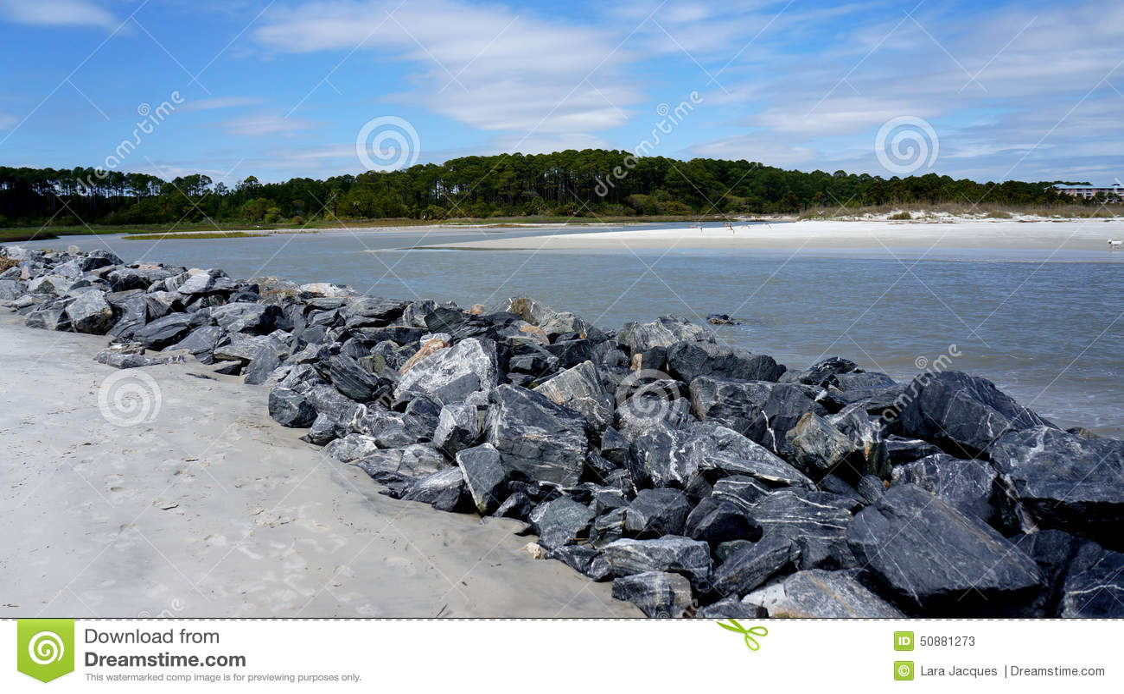 Hilton Head Island, South- Carolinastrand, felsige Sperre