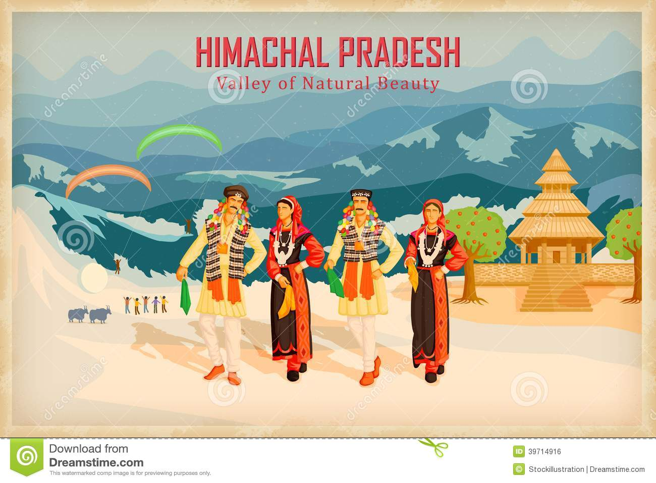 Illustration depicting the culture of Himachal Pradesh, India.