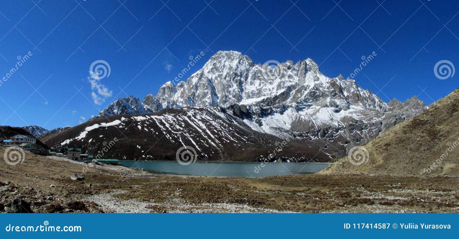 Himalaya mountains and lake panorama beautiful scenery