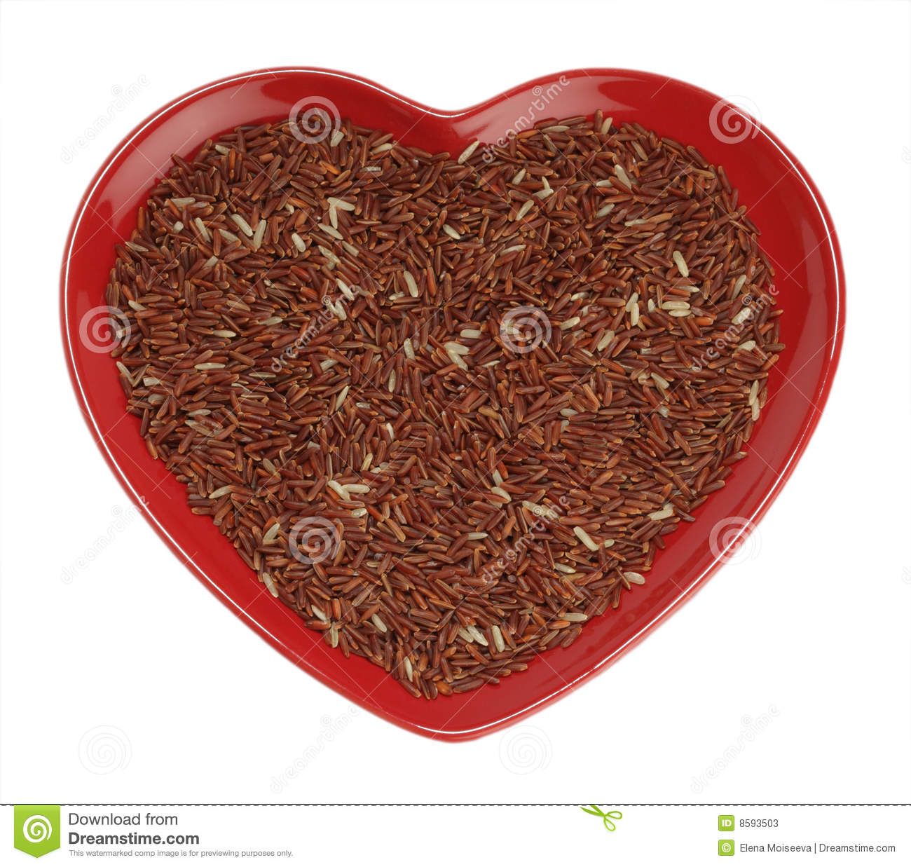 Himalayan Red Long grain Rice in red heart