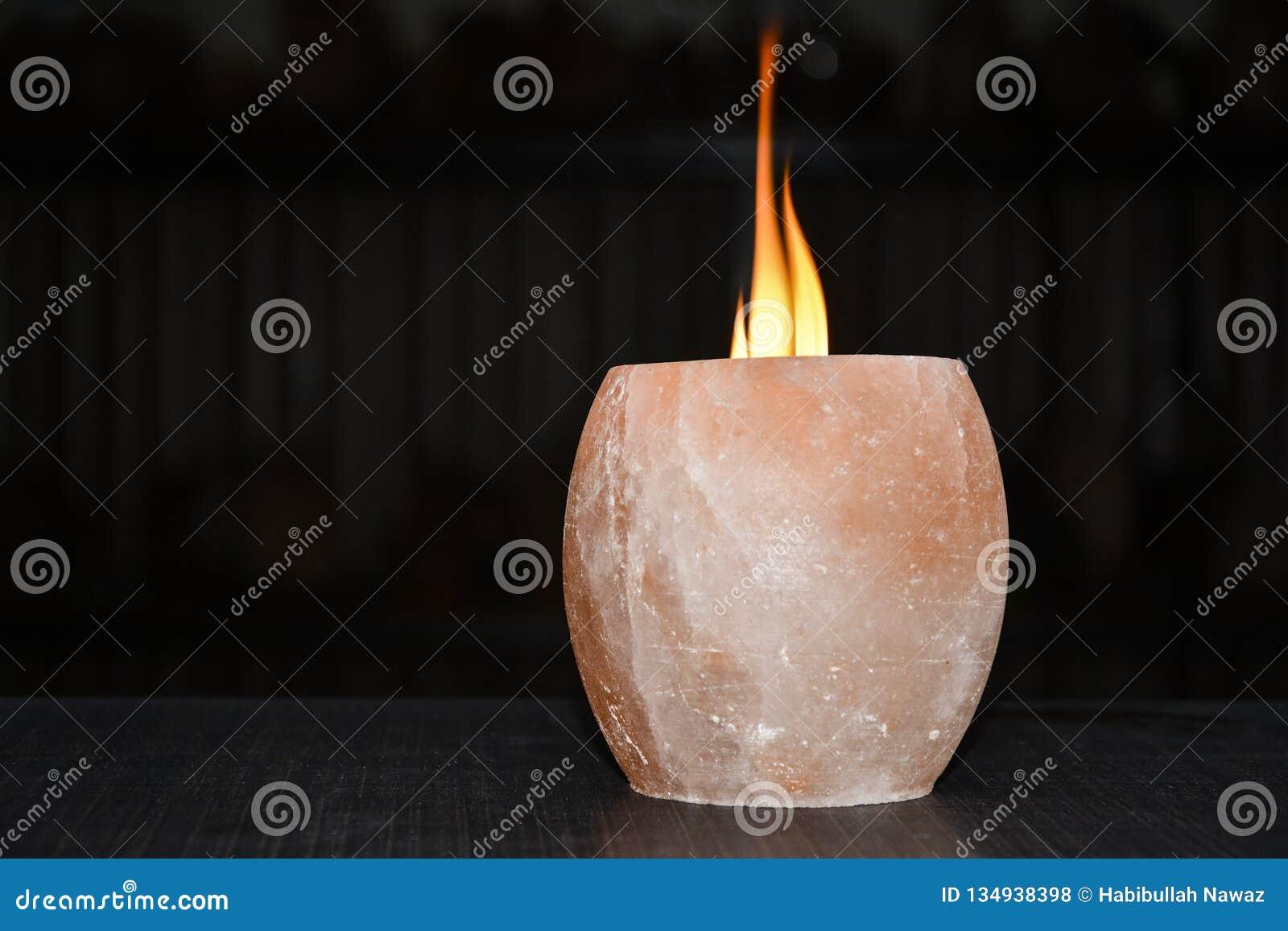 Himalayan Salt Lamp Candle Holder Stock Photo Image Of