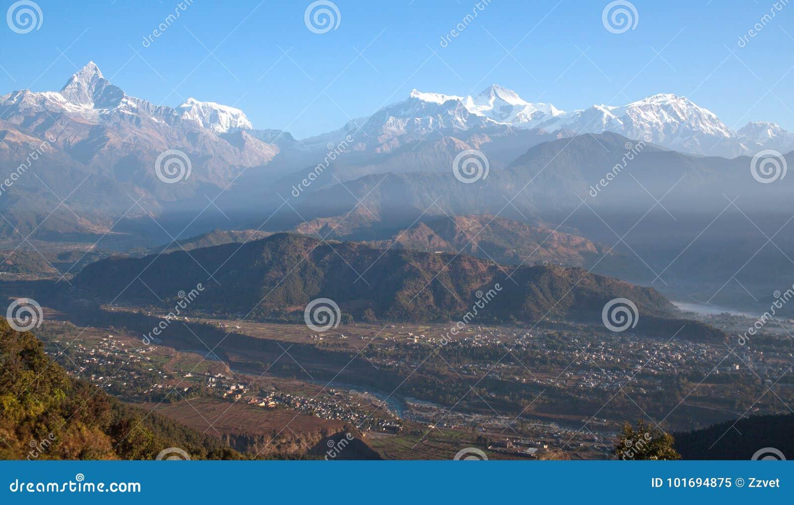 Himalayas Mountain Range From Sarangkot Hill, Nepal Stock