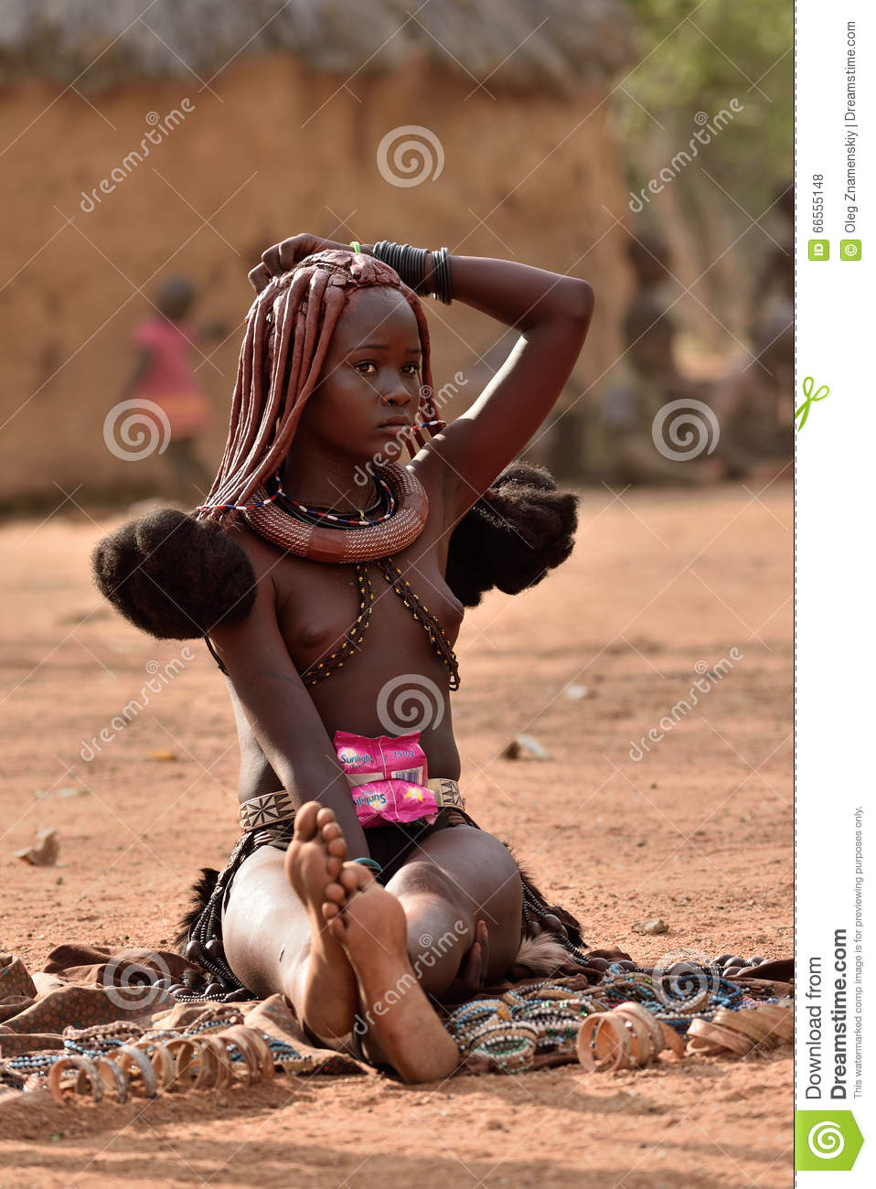 Kamanjab Namibia  City new picture : KAMANJAB, NAMIBIA FEB 1, 2016: Young unidentified Himba woman with ...