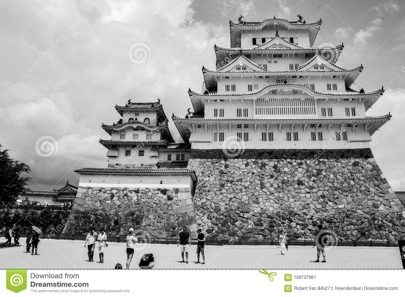 Himeji castle japan in black and white editorial photo image of