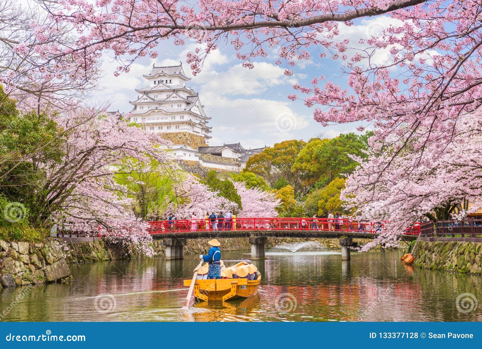 Himeji kasztel, Japonia w wiośnie