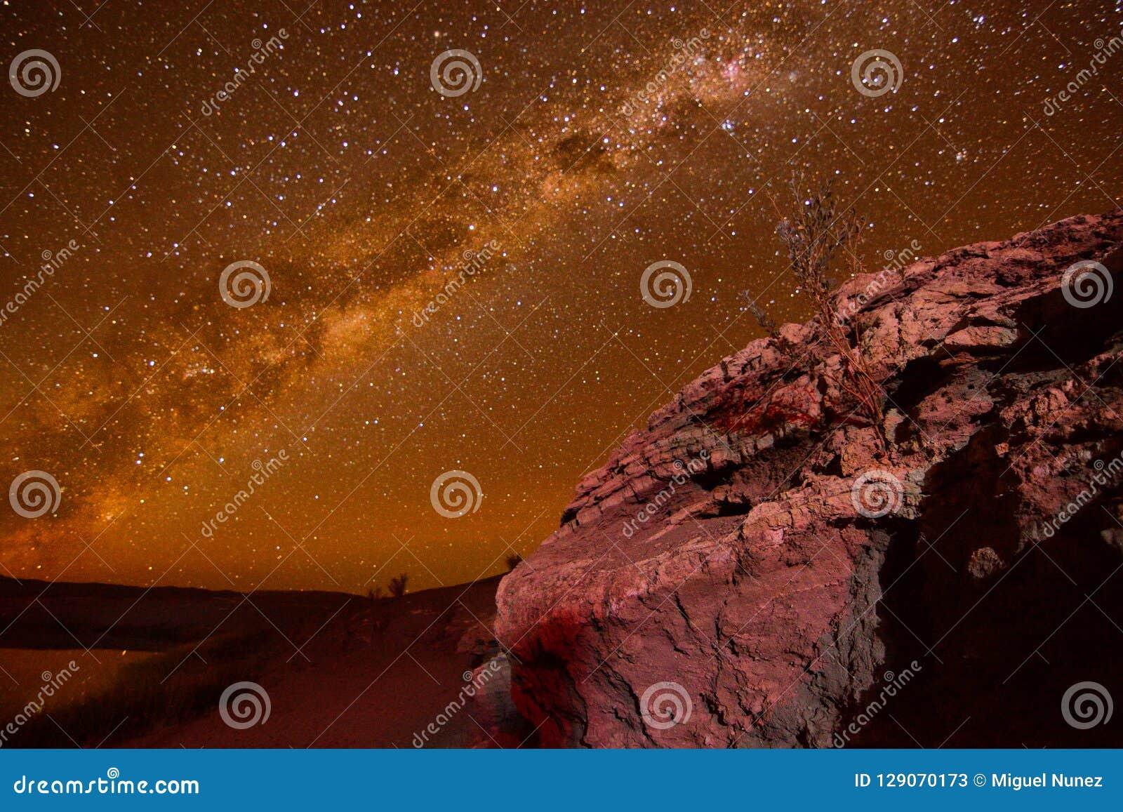 Himmel-Nacht mit Sternen in Atacama-Wüste