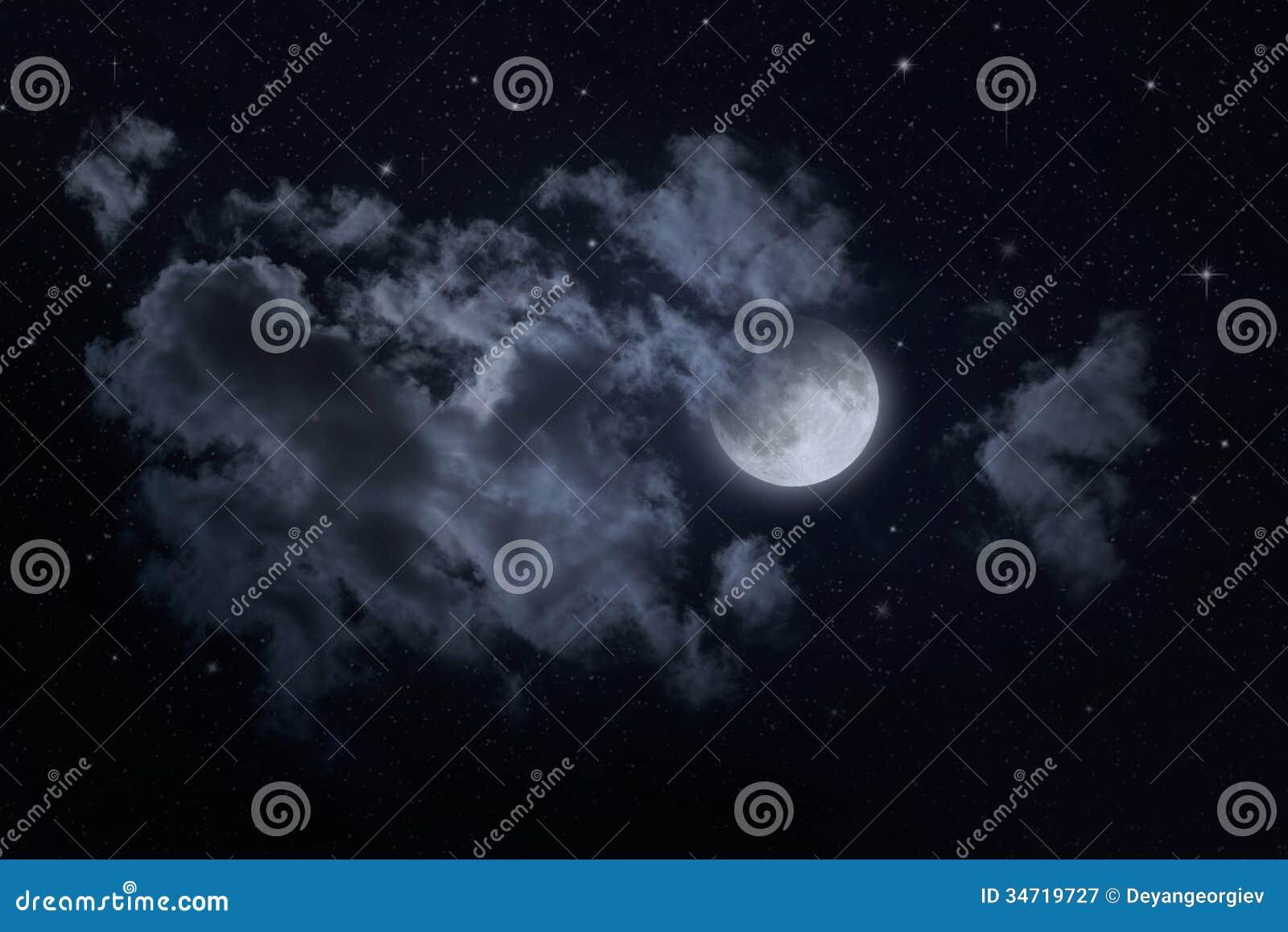 Himmel och måne för natt stjärnklar