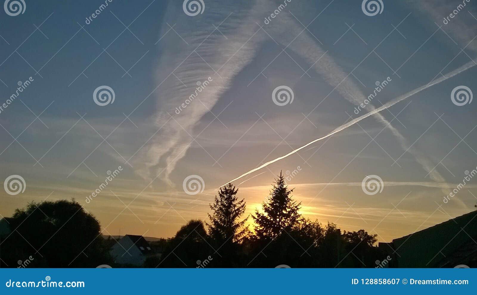 Himmel träd en skymning med fantastiskt plant landskap