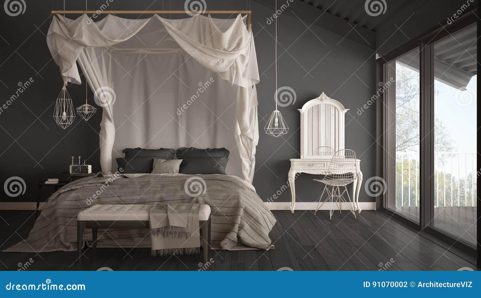 Himmelbett Im Minimalistic Grauen Schlafzimmer Mit Großem Fenster ...
