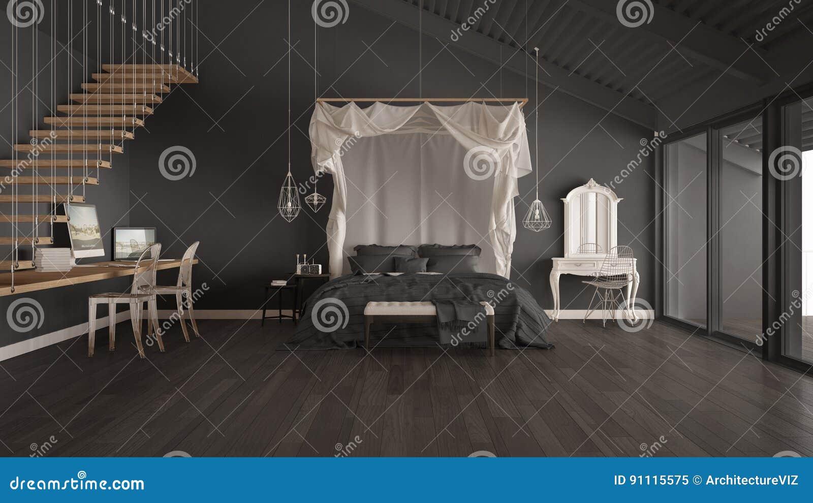 Himmelbett Im Minimalistic Grauen Schlafzimmer Mit Hauptarbeitsplatz, Sca