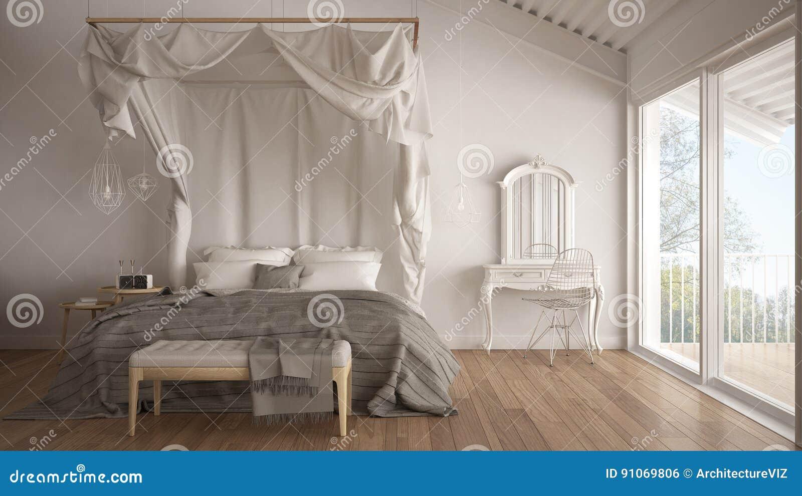 Download Himmelbett Im Minimalistic Weißen Schlafzimmer Mit Großem Fenster,  Scandi Stockfoto   Bild Von Kabinendach