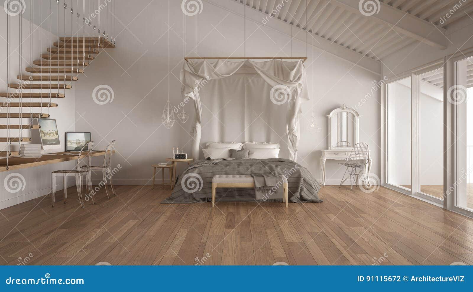 Himmelbett Im Minimalistic Weißen Schlafzimmer Mit Hauptarbeitsplatz ...