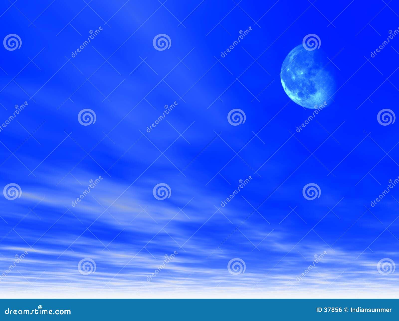 Download Himmelhintergrund mit Mond stock abbildung. Illustration von bild - 37856