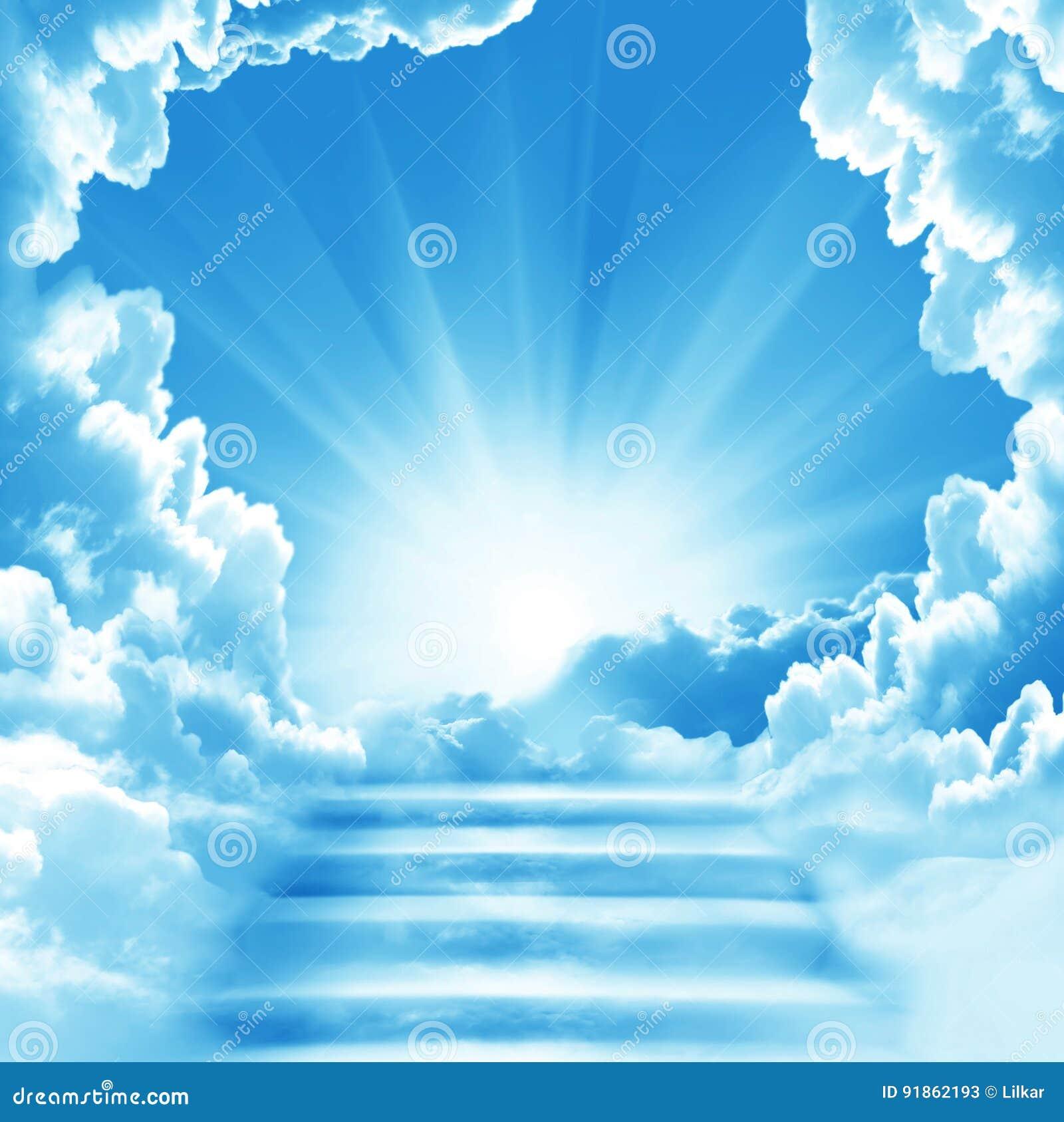 Himmeltrappa till clouds begreppsskytrappa