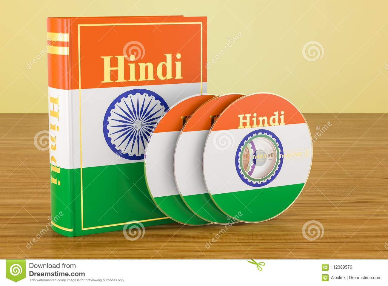 Hindi Book With Flag Of India And CD Discs On The Wooden Table