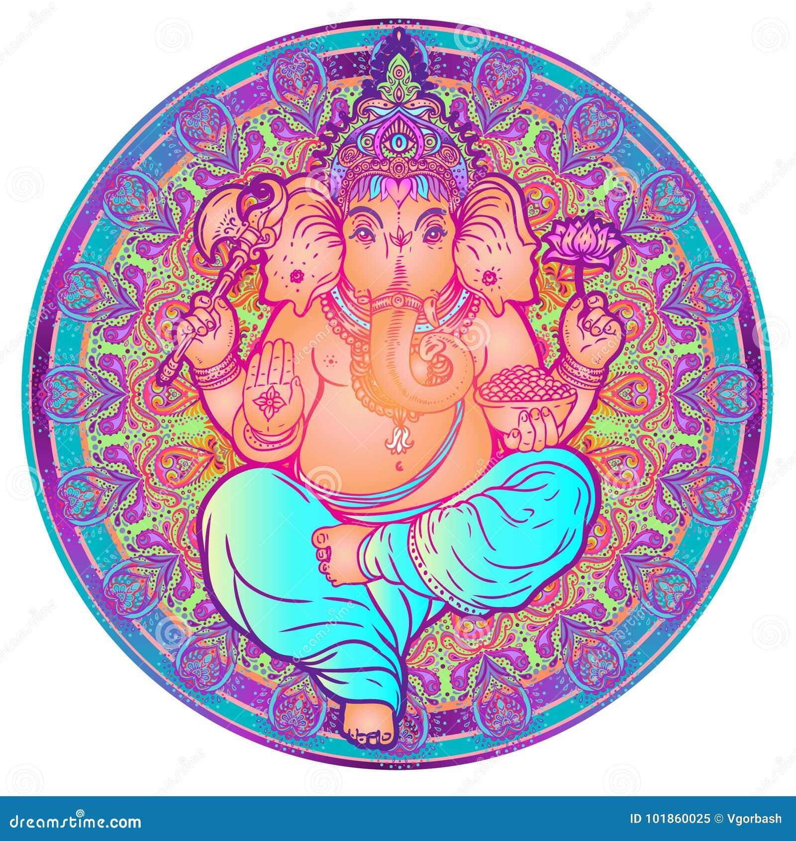 Hindoes Lord Ganesha over overladen kleurrijke mandala Vectorillustra