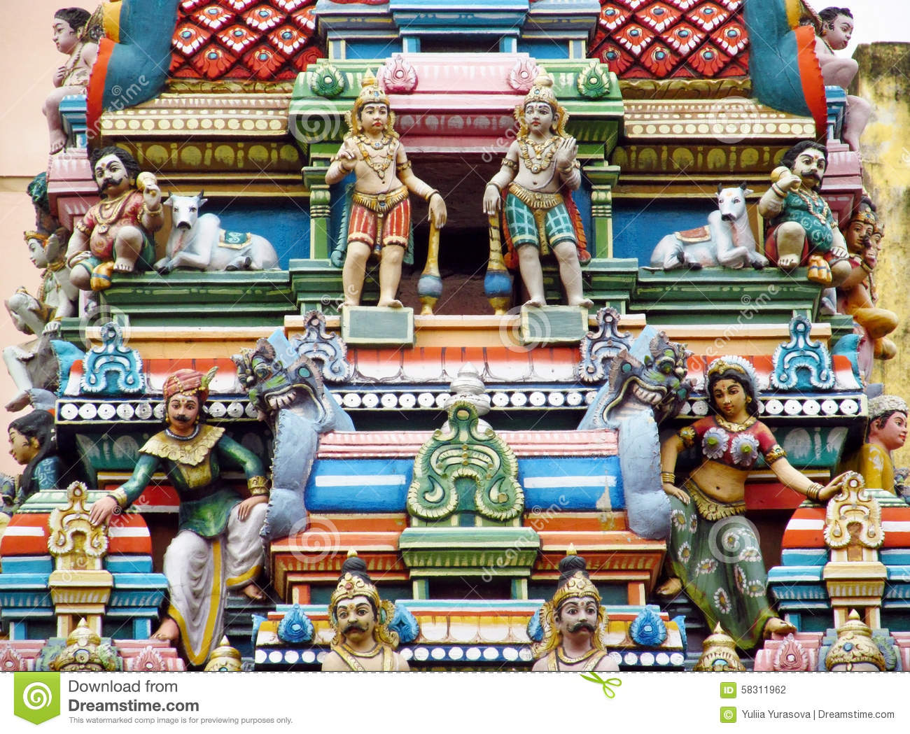 Hindu colorful statues in India