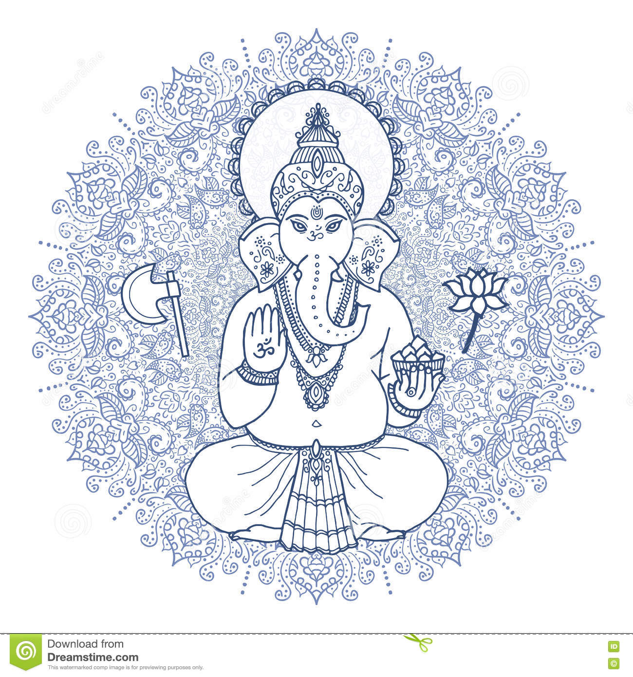 Hindu Elephant Head God Lord Ganesha Hand Drawn Paisley Background