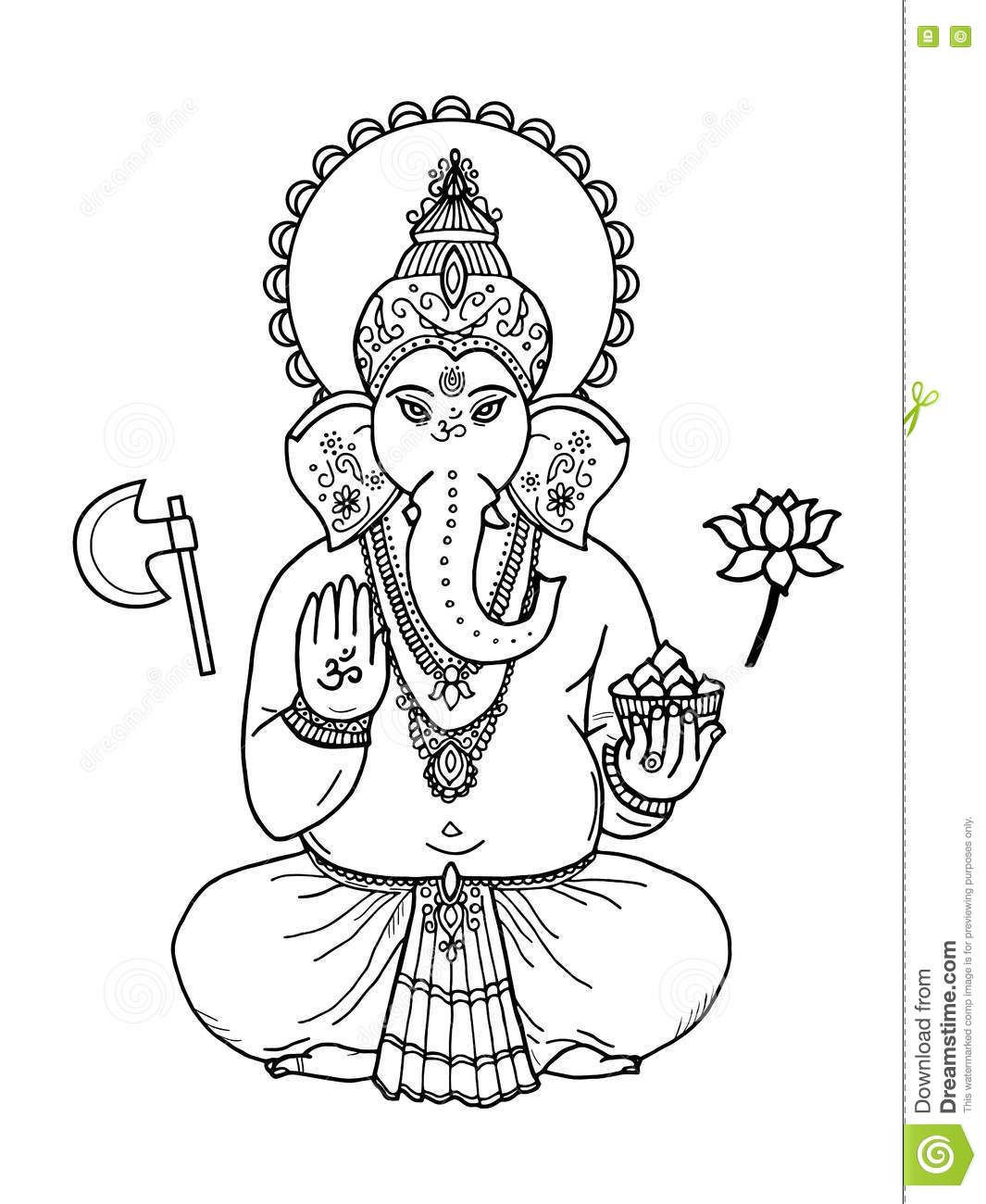 Hindu Elephant Head God Lord Ganesha Indian Hindu Motifs Tattoo