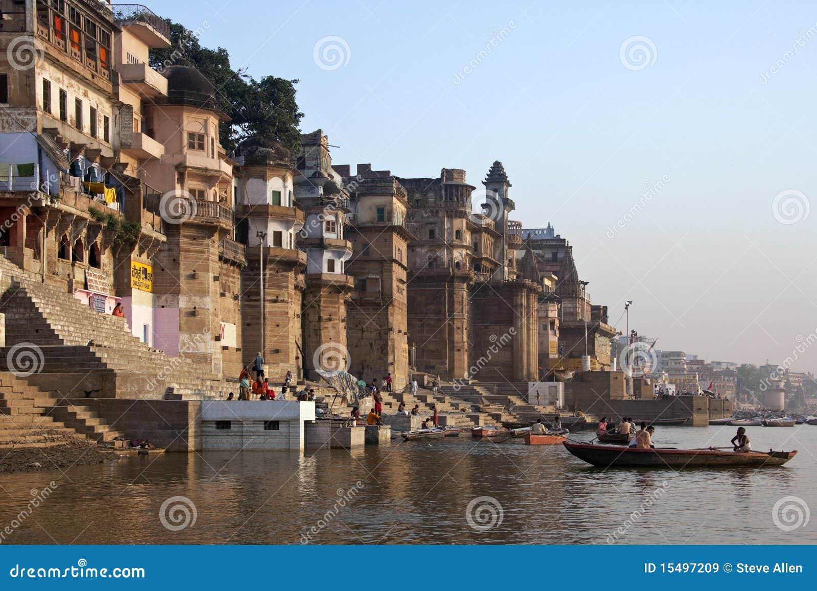 Hindu ghats on the river ganges varanasi india editorial stock