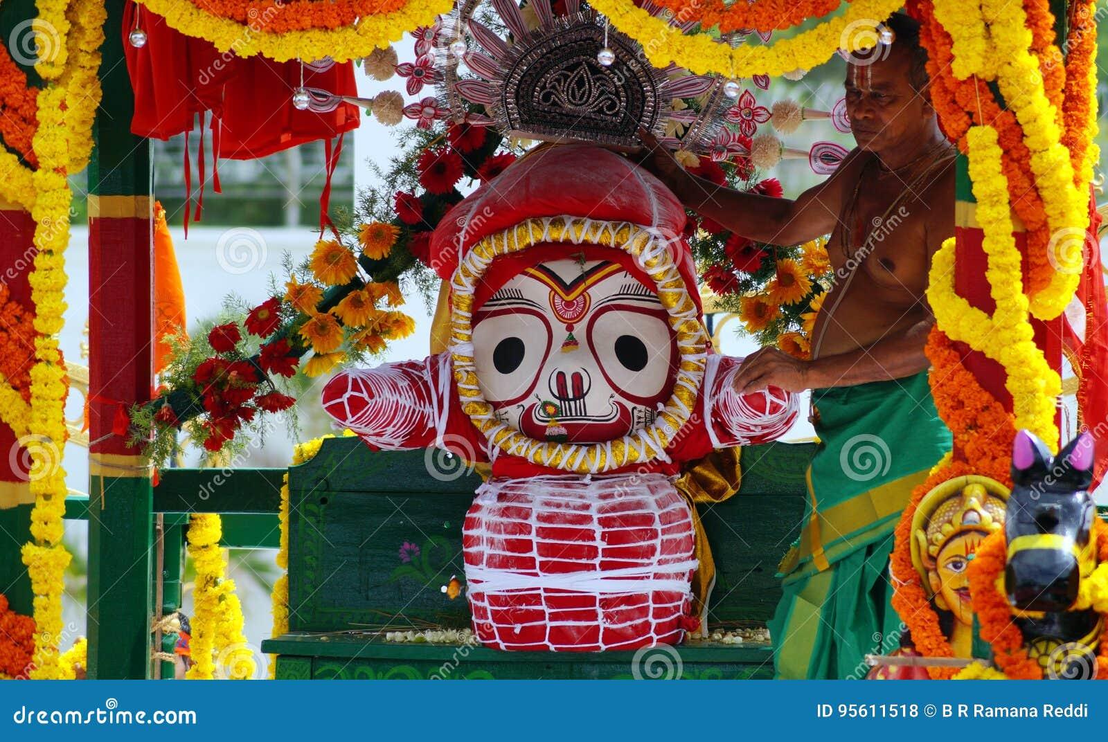 Hindu God Jagannath,balabhadra And Subhadra Idols On Chariot