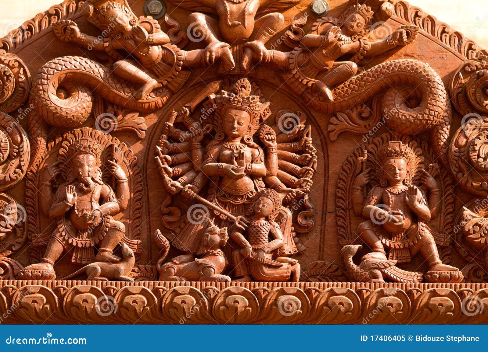 Hindu gods carved on wood royalty free stock photo image