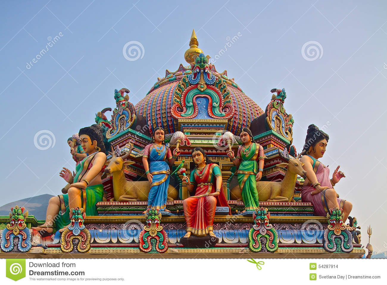 Hindu Gods On A Temple Roof Stock Photo Image Of India