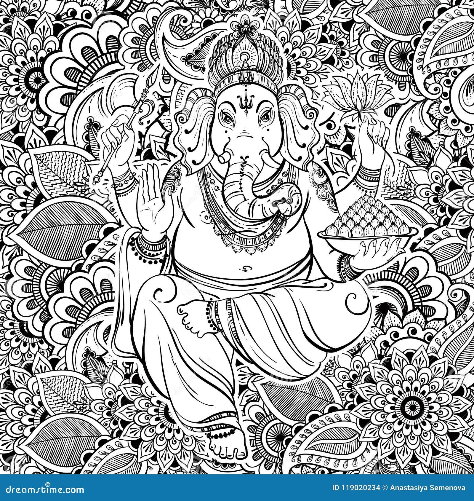 Hindu Lord Ganesha over ornate zentangle pattern. Vector illustration. Hand drawn background zentangle style inspired. Tattoo.
