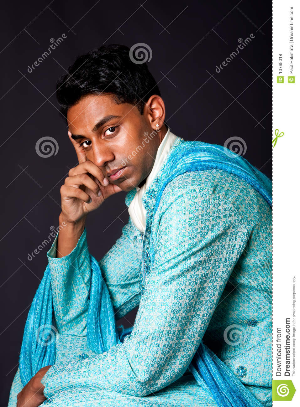 hindu man sitting and thinking royalty free stock photos