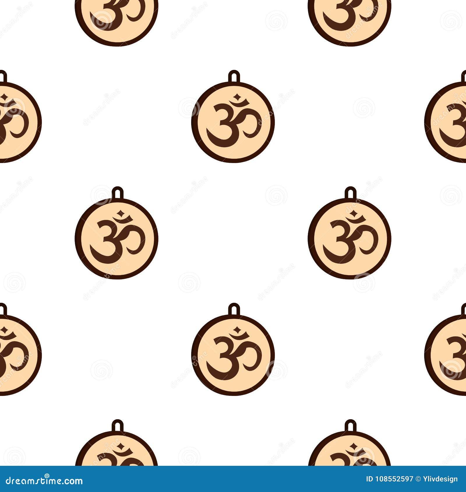 Hindu Om Symbol Pattern Seamless Stock Vector Illustration Of