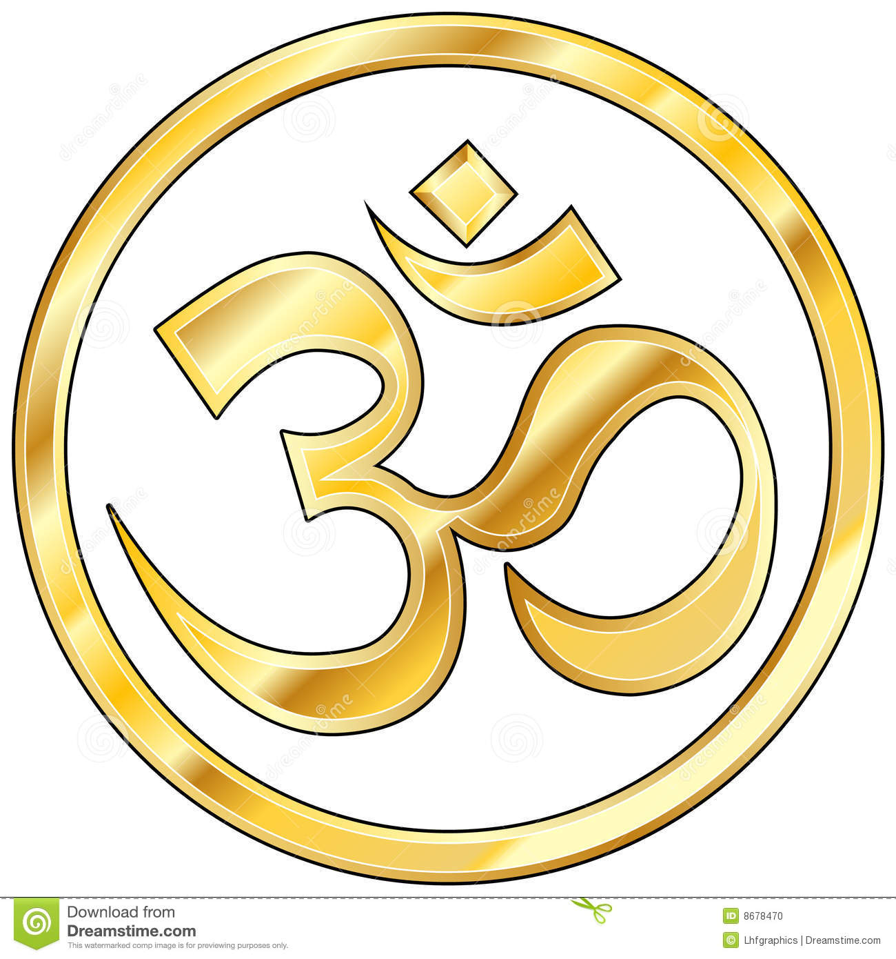 Hindu Om Vector In Gold Stock Vector Illustration Of Mantra 8678470