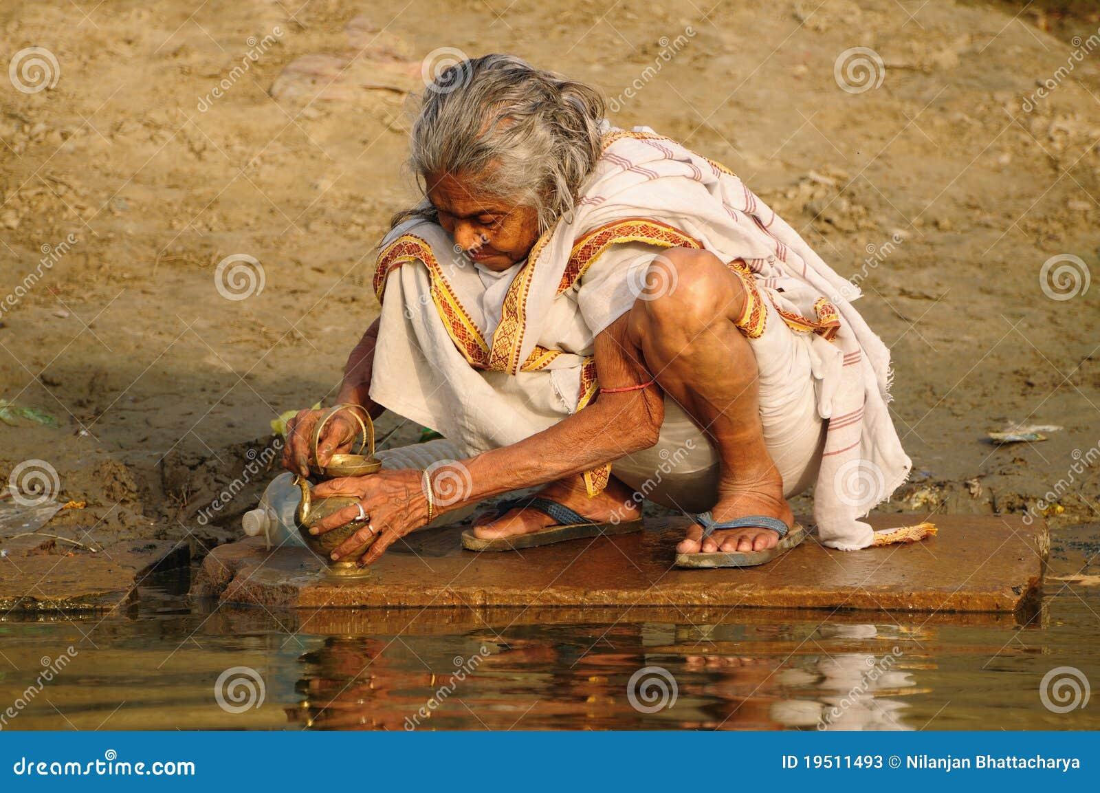 Hindu Pilgrim Cleaning Prayer Utensil Editorial Stock Photo - Image