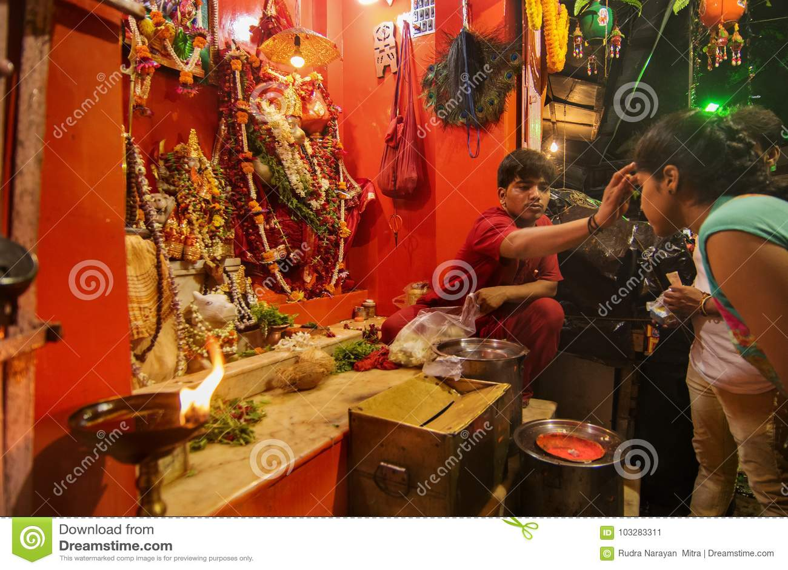 Hindu Priest Worshipping Lord Hanuman Editorial Photo