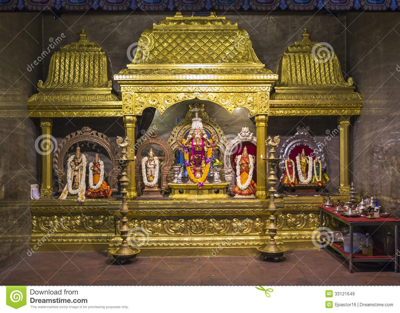 hindu religion relics with elephants flowers and g stock image
