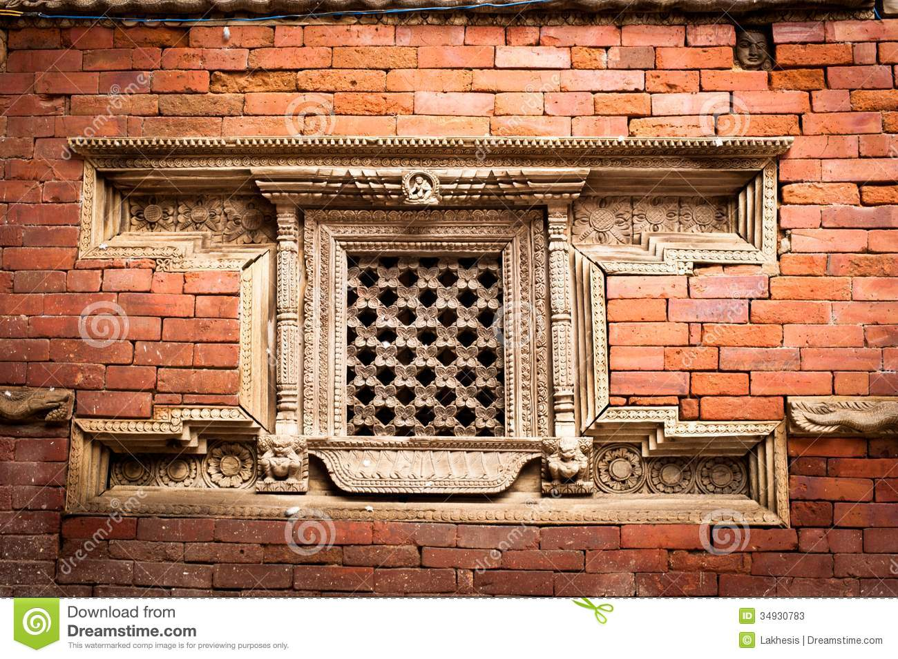 Hindu temple architecture detail nepal stock photos for Window design in nepal