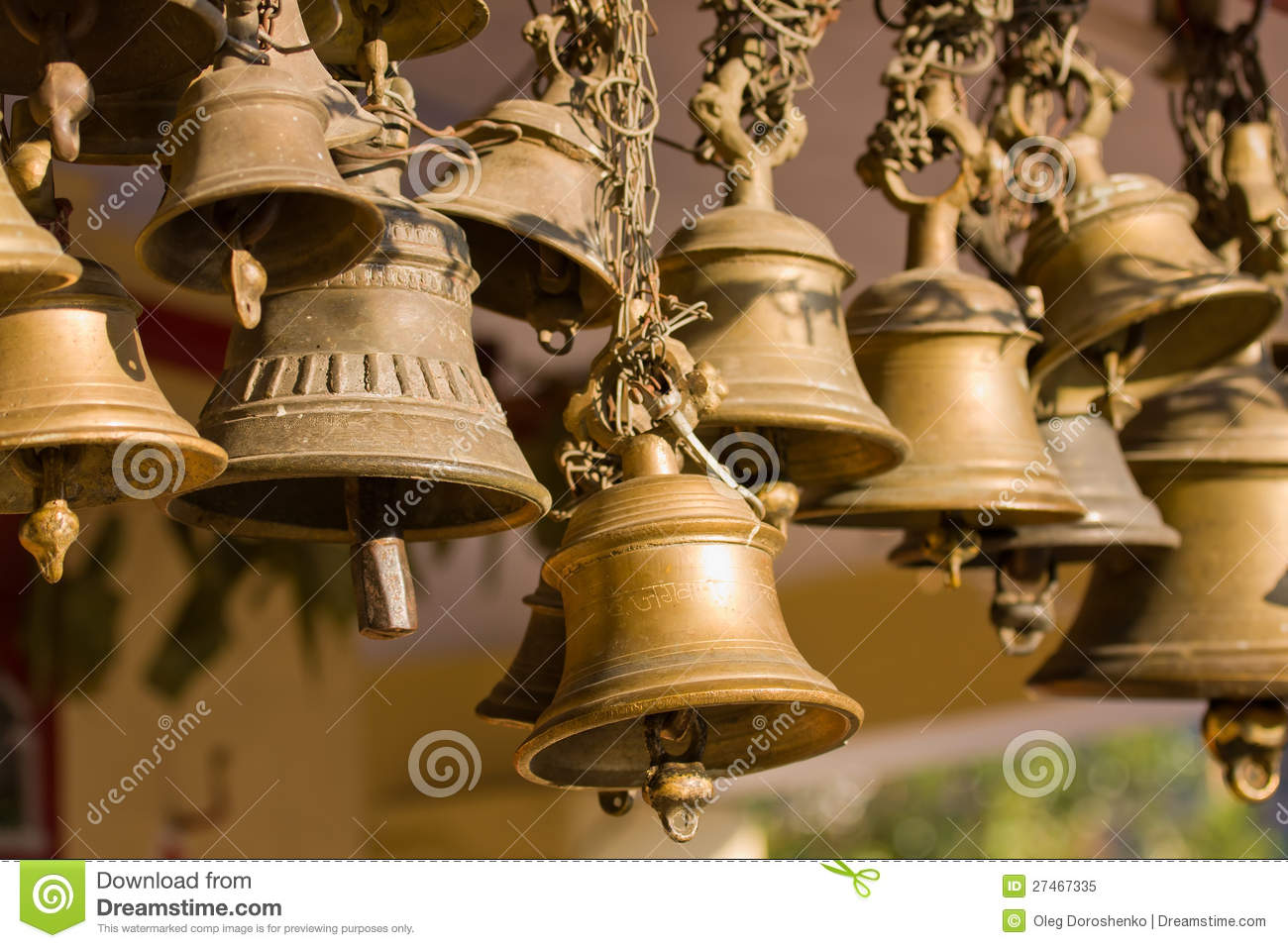 Hindu temple bell stock image  Image of buddhism, holy