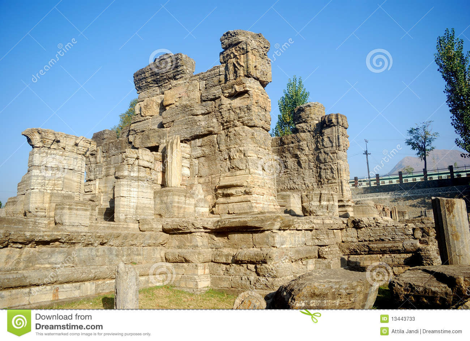 Hindu Temple Ruins Avantipur Kashmir India Stock Photos Image 13443733