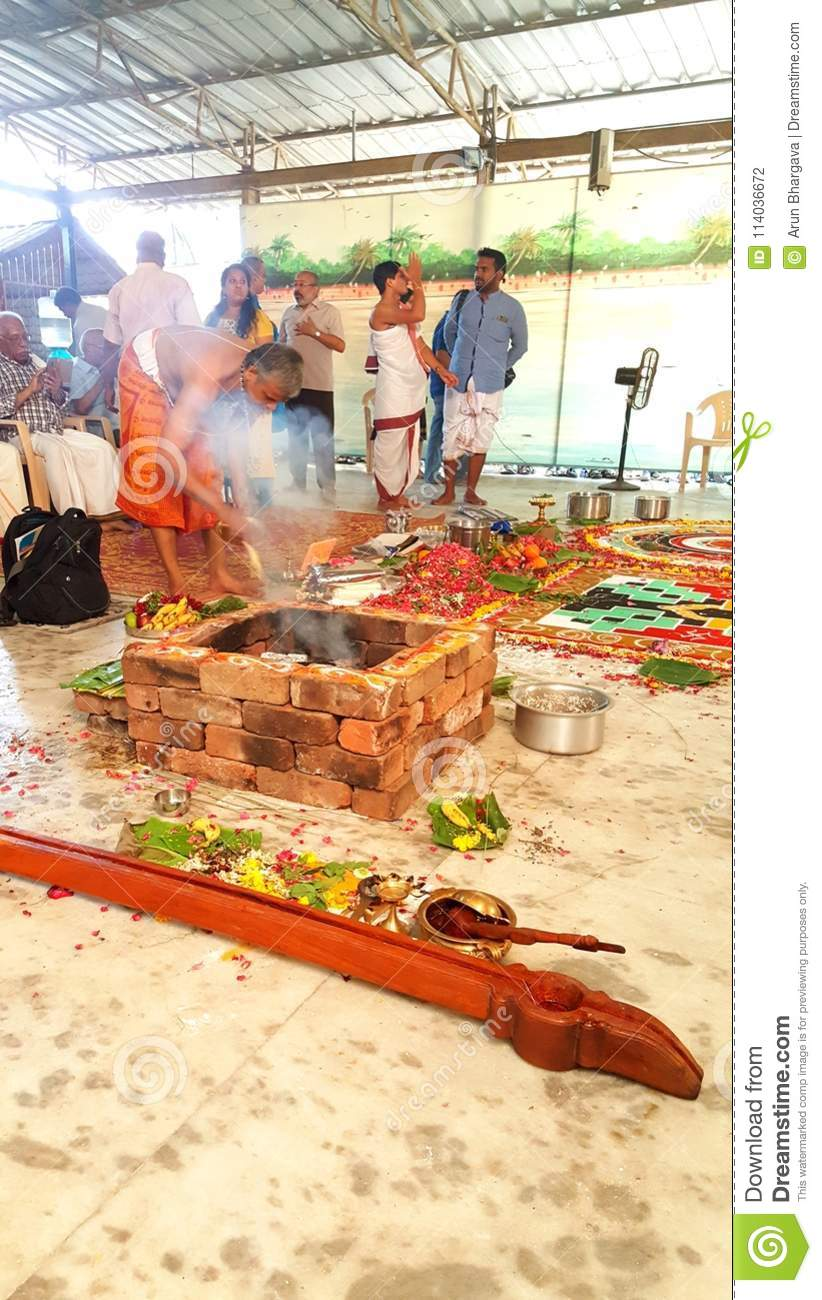 Hindu Wedding Yagna Ceremony Preparation Editorial
