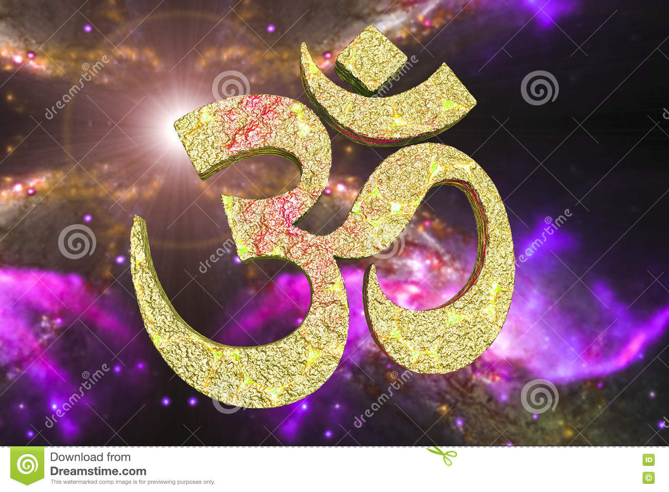 Hindu Word Reading Om Or Aum Symbol Stock Illustration ...