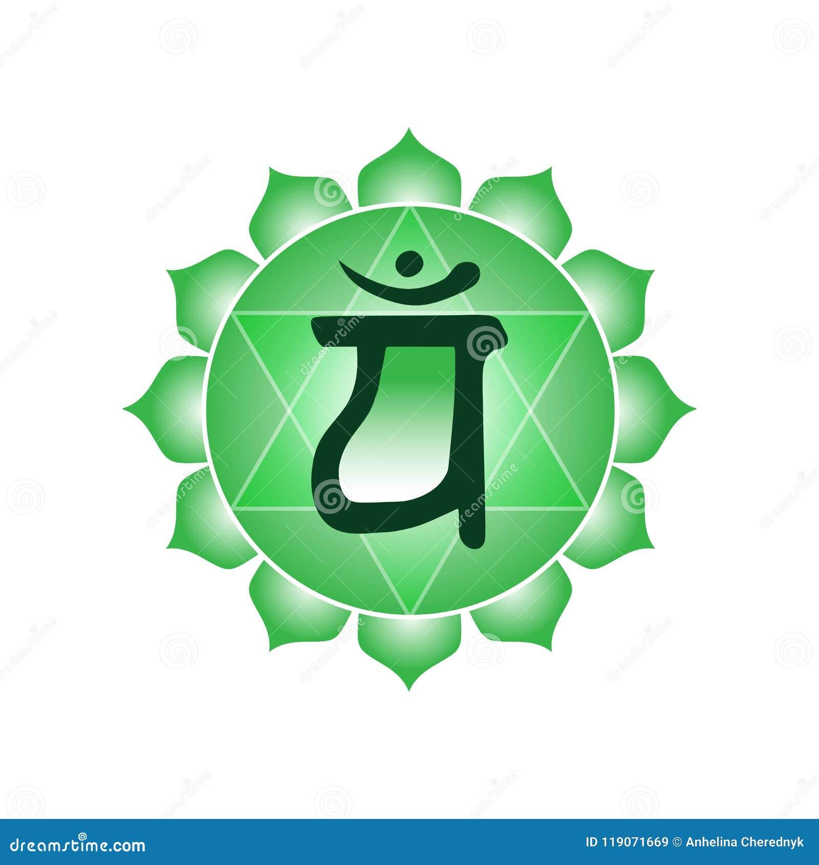 Hinduis indios del buddhism de la yoga esotérica del símbolo del icono del chakra de Anahata