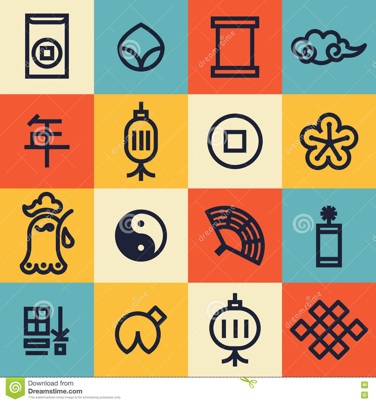 Hinese new year 2017 cute modern linear icons stock vector hinese new year 2017 cute modern linear icons biocorpaavc