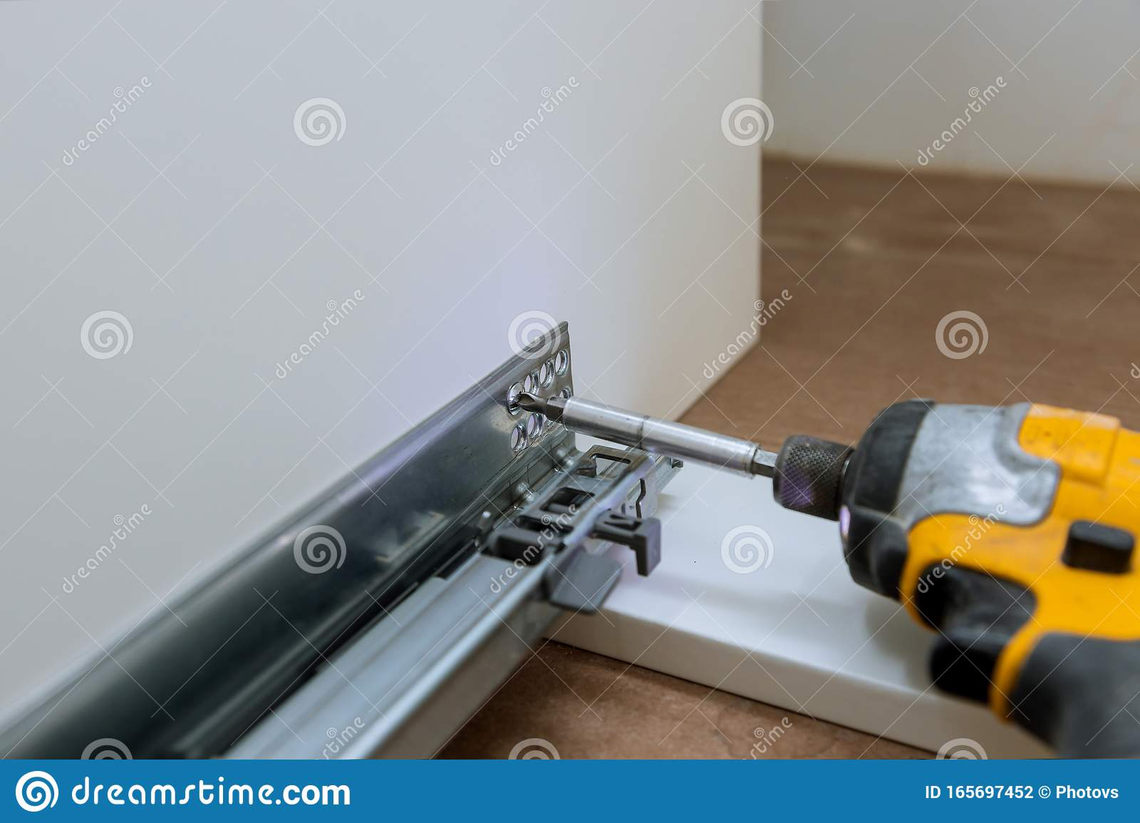 Hinge Drawers Assembly On Assembling A Kitchen Cabinet Furniture Stock Photo Image Of House Manual 165697452