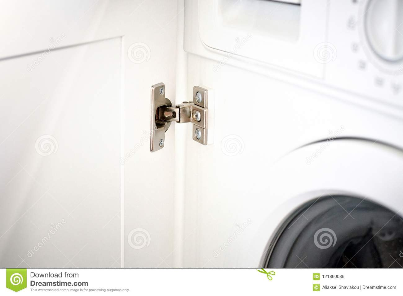 Hinge Kitchen Assembled On White Doors Steel Stock Photo Image Of Home Load 121860086