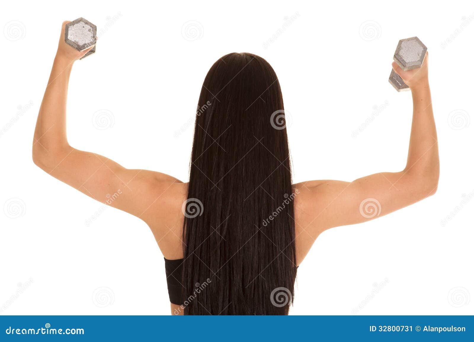 Hintere Ansichtfrau bewaffnet Gewichte